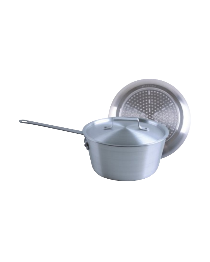 Double bottom aluminum saucepan